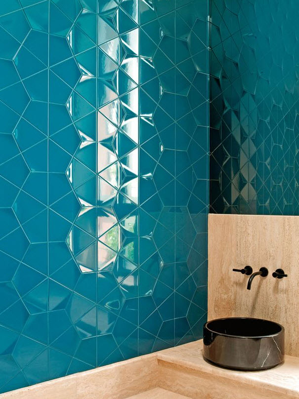 40 Blue Ceramic Bathroom Tile Ideas And Pictures