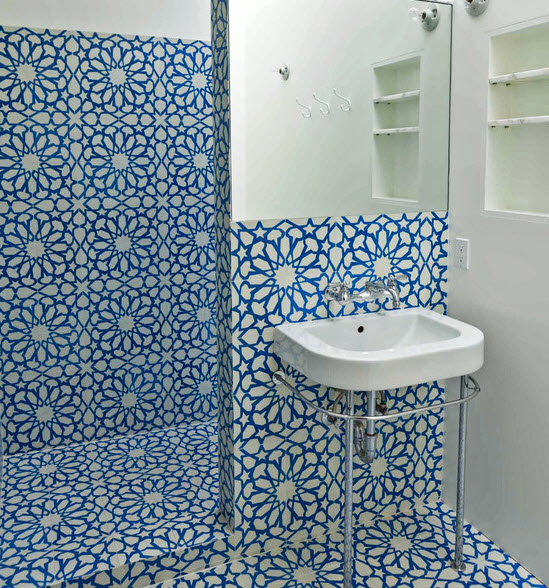 Blue Ceramic Floor Tile For Bathroom Ideas And Pictures