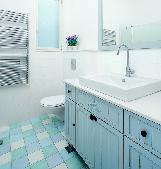 Bathroom Floor Tiles Blue : Blue ceramic floor tile for bathroom ideas and pictures