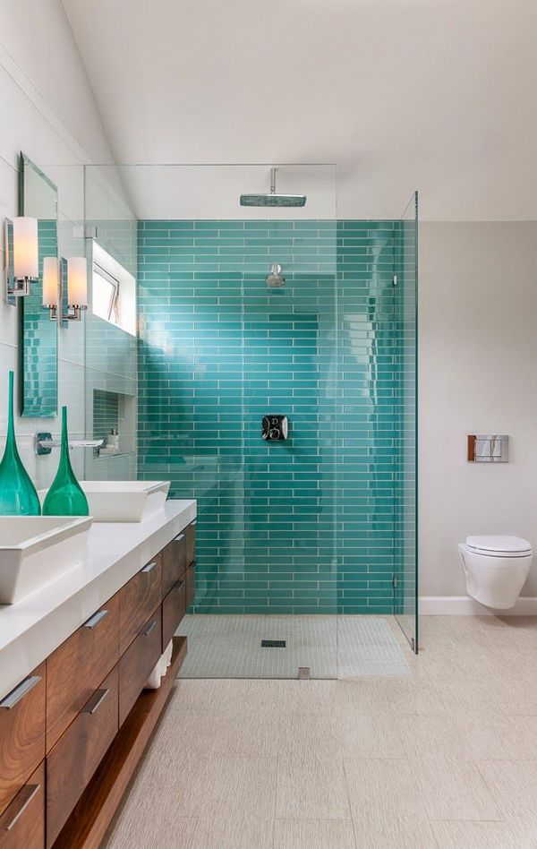 40 blue glass bathroom tile ideas and pictures - Accessoires salle de bain turquoise ...