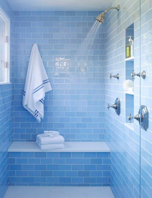 Excellent Modern Narrow Bathroom Design Ideas With Attractive Ocean Blue Mosaic Tiles And Corner Bathtub Shower Unit With Chromed Shower Header And Faucets