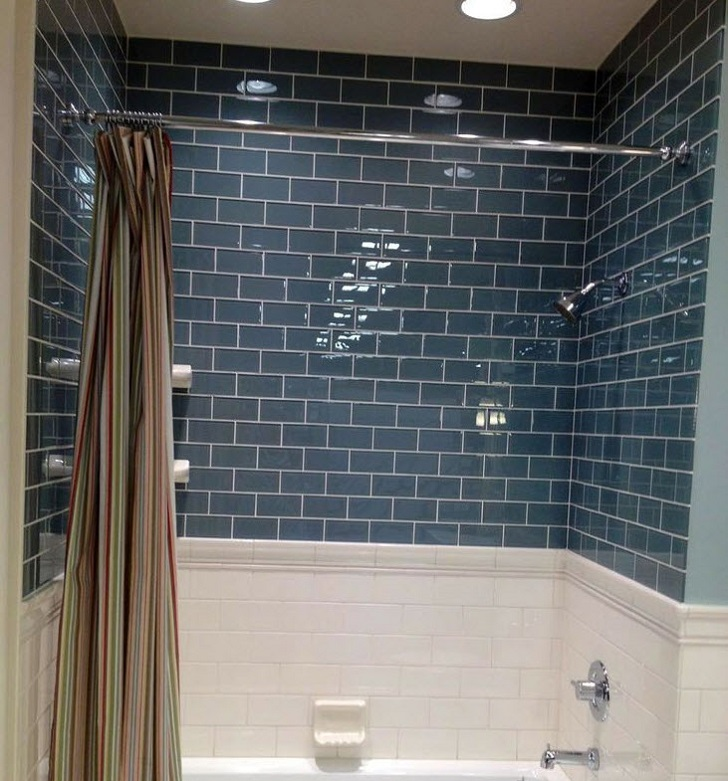 White Subway Tile Around Bathtub