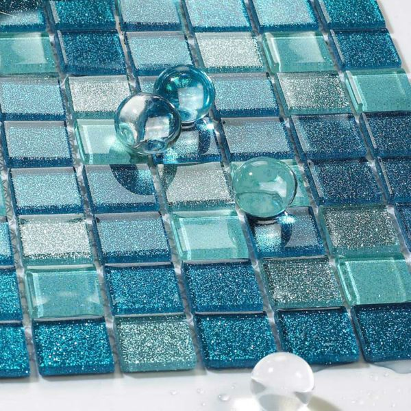 Blue Gl Mosaic Bathroom Tiles 20 21 22 23