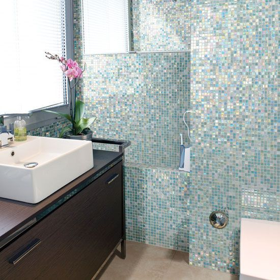 Mosaic Bathroom Tile Ideas: 40 Blue Glass Mosaic Bathroom Tiles Tile Ideas And Pictures