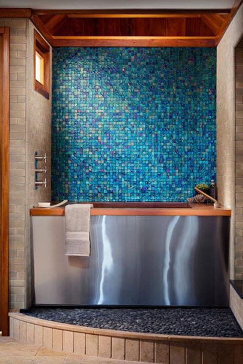 40 Blue Glass Mosaic Bathroom Tiles Tile Ideas And