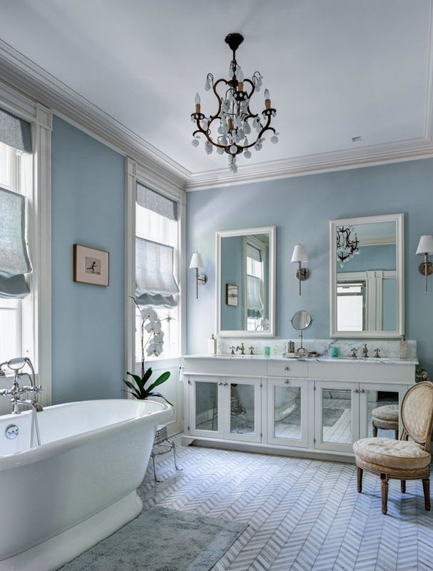 35 blue gray bathroom tile ideas and pictures for Bathroom ideas light blue