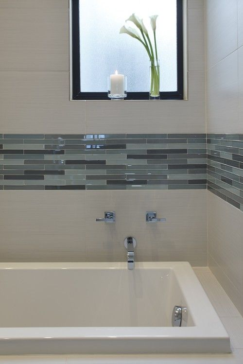 Elegant Bath With Glass Backsplash And Marble Floor Blue Paint White Tile