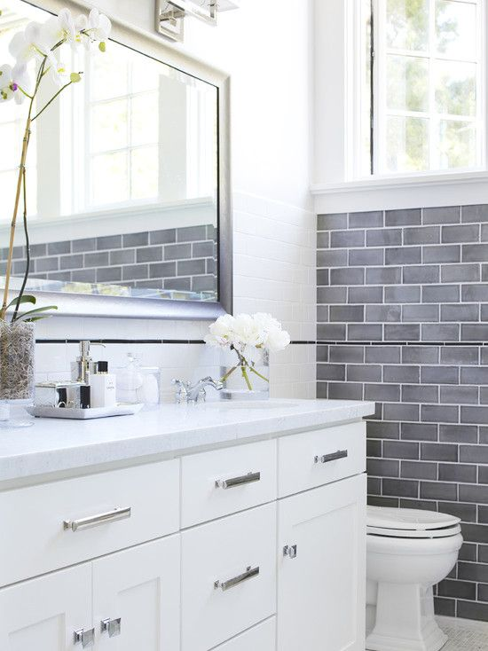 35 blue gray bathroom tile ideas and pictures for Bathroom ideas using subway tile