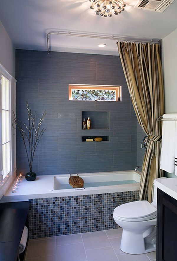 35 blue gray bathroom tile ideas and pictures for Gray bathroom designs