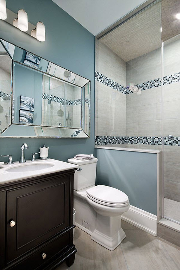 35 blue grey bathroom tiles ideas and pictures for Bathroom ideas grey tiles