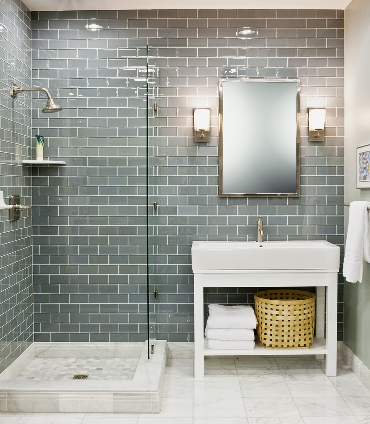 35 blue grey bathroom tiles ideas and pictures for Blue tile bathroom ideas