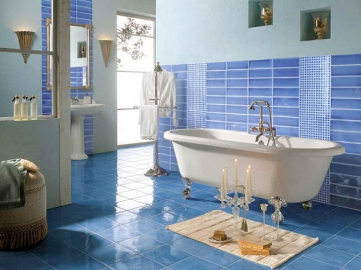 35 blue marble bathroom tiles ideas and pictures for Blue tile bathroom ideas
