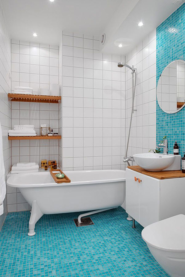 New Impressionismo Blue Mosaic Bathroom Tiles