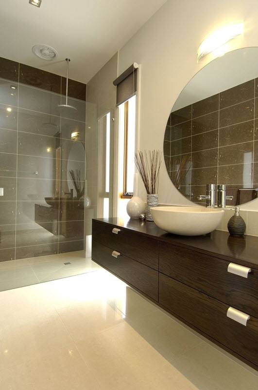 40 brown bathroom wall tiles ideas and pictures for Dark wood bathroom designs