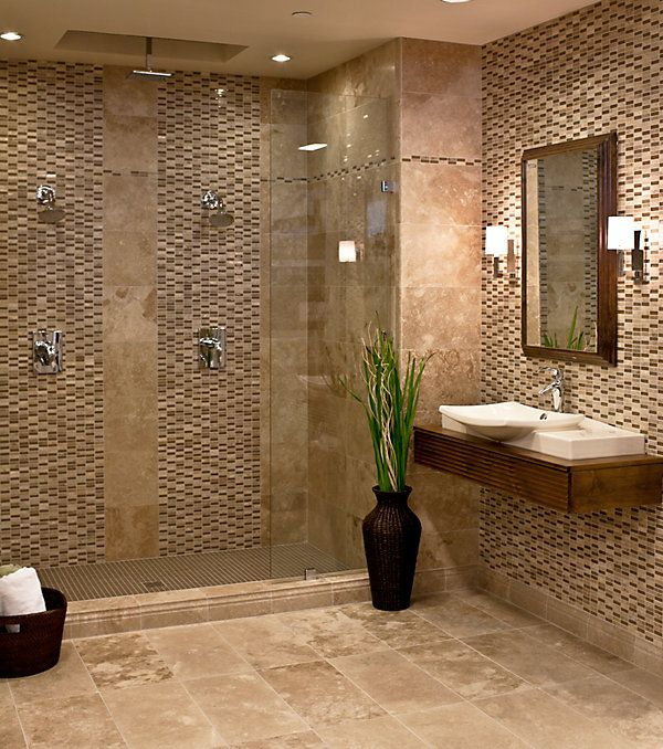 40 brown bathroom wall tiles ideas and pictures for Bathroom 12x24 tile