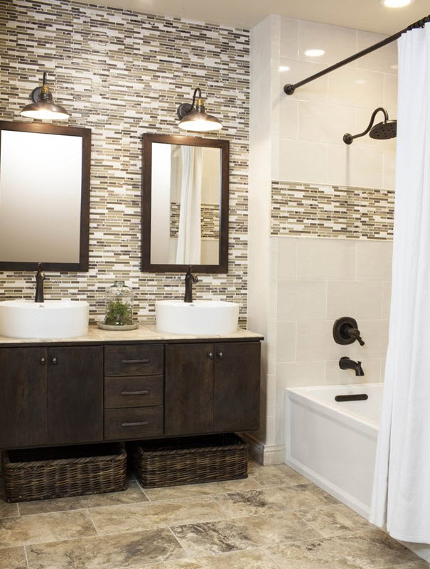 24 Amazing Brown Mosaic Tiles Bathroom | eyagci.com