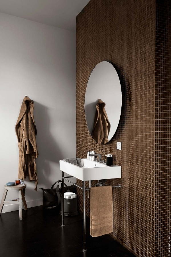 Fliesen Bad Braun: 40 Brown Mosaic Bathroom Tiles Ideas And Pictures