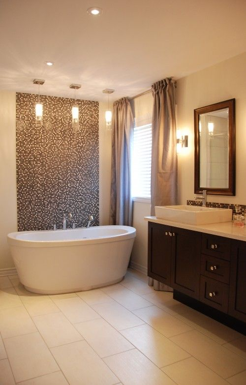 40 brown mosaic bathroom tiles ideas and pictures for Bathroom mosaic design