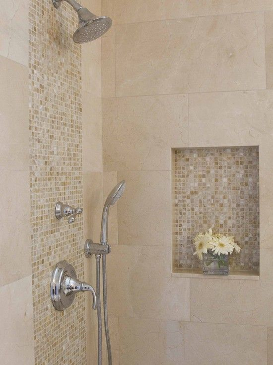 Minimalist Bathroom Metalic Head Shower Small Flower Vase Shower Tile Ideas