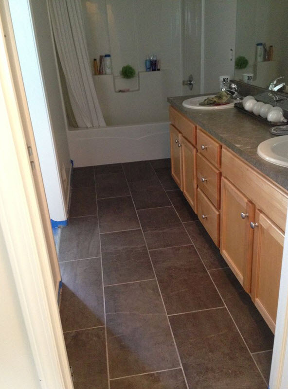 Brown Floor Tile Bathroom
