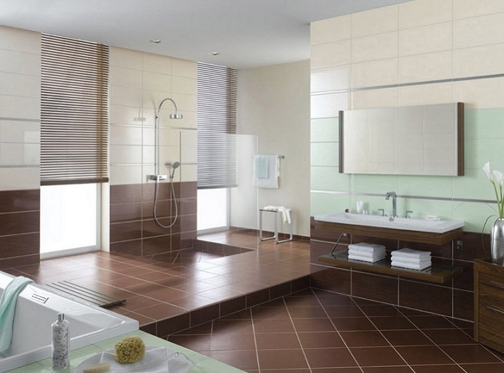 Fliesen Bad Braun: 37 Chocolate Brown Bathroom Floor Tiles Ideas And Pictures