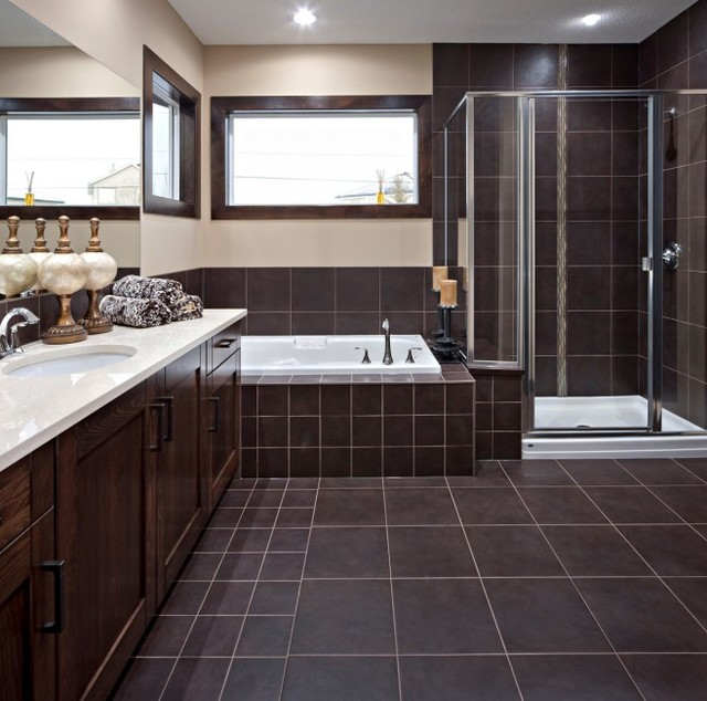 Chocolate Brown Bathroom Floor Tiles Ideas And Pictures - Dark colored bathrooms