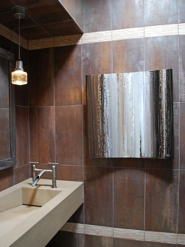 40 chocolate brown bathroom tiles ideas and pictures for Brown tile bathroom ideas