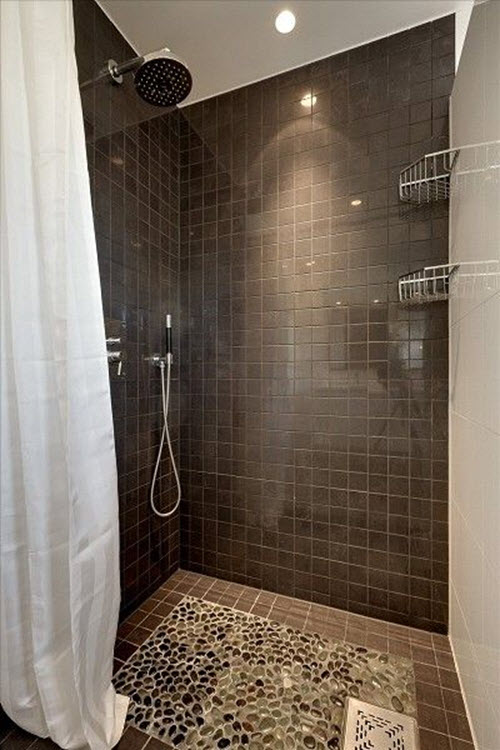 40 chocolate brown bathroom tiles ideas and pictures for Grey brown floor tiles