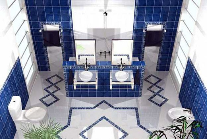 Bathroom Tile Ideas Blue And White 35 cobalt blue bathroom floor tiles ideas and pictures
