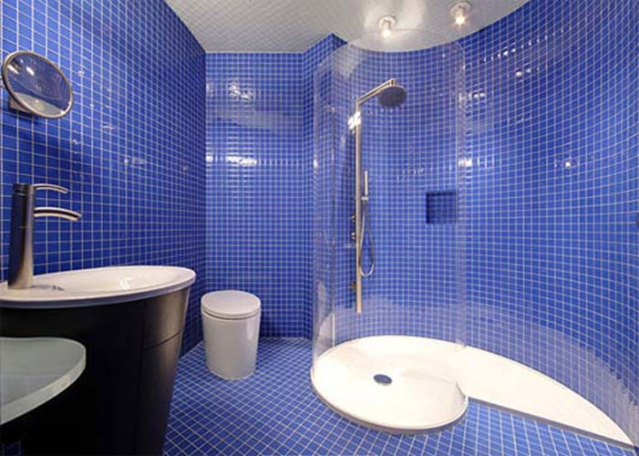 Luxury Cobalt Blue Penny Tile On Bathroom Wall  Bath Inspiration  Pintere