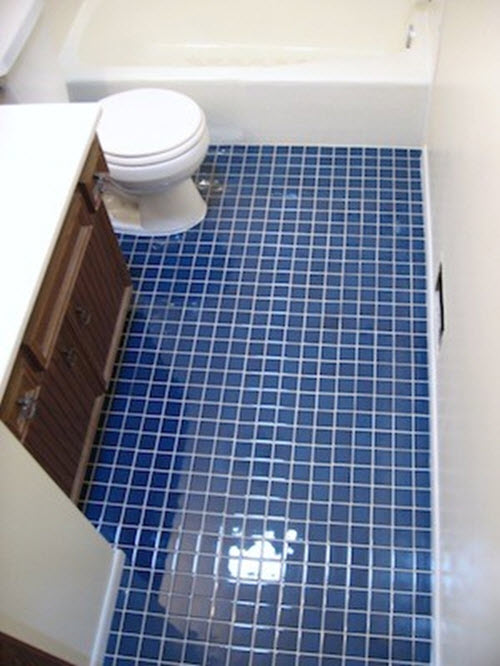 Bathroom Floor Tiles Blue : Blue bathroom floor tiles wall decals