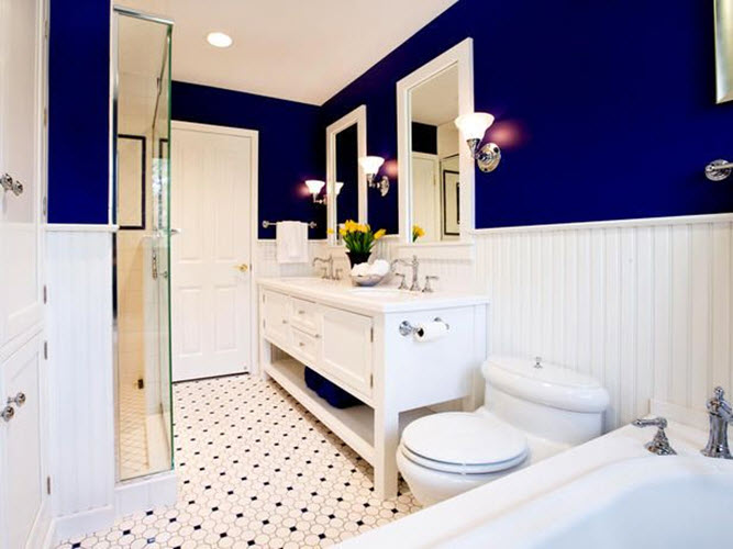 35 cobalt blue bathroom floor tiles ideas and pictures for Navy and white bathroom accessories