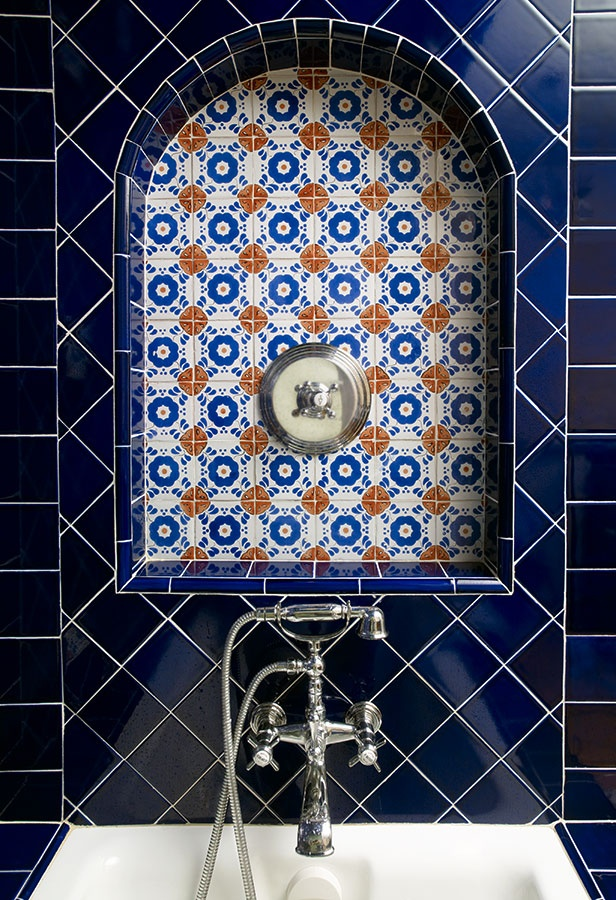 Fantastic Fabulous Bathroom Boasts A Cobalt Blue Double Vanity Topped With White Marble Framing His And Her Sinks Under An Ann Sacks Pyrite Square Tile Backsplash And Steel Framed Vanity Mirror Illuminated By Small Gale Hanging Pendants