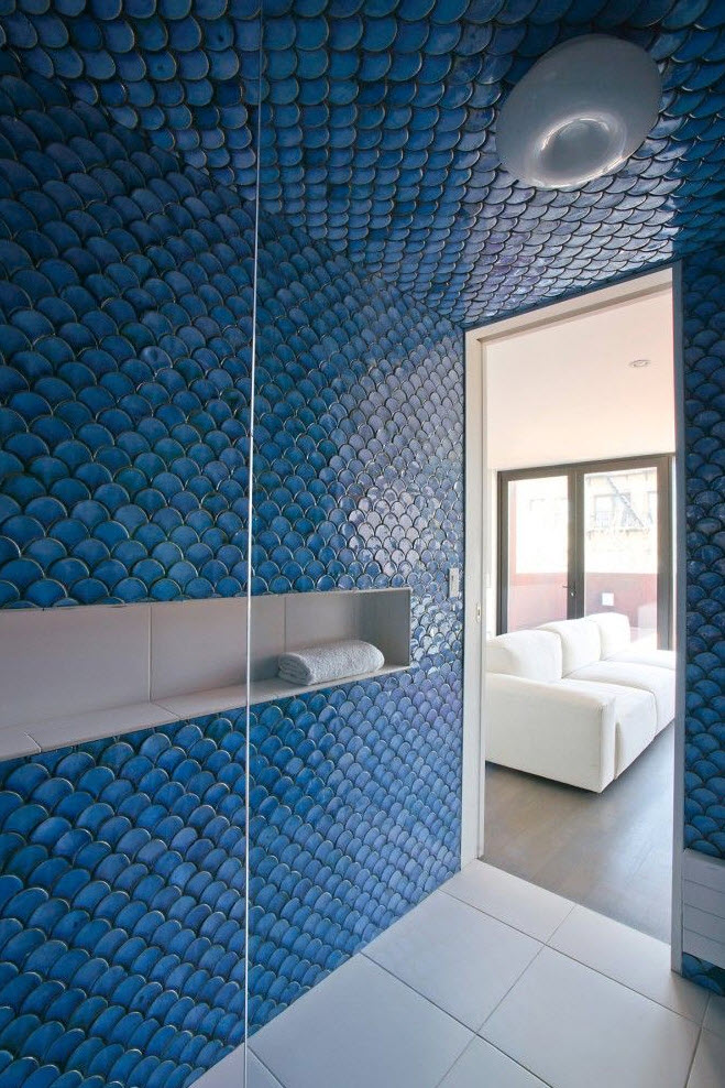35 cobalt blue bathroom tile ideas and pictures for Fish scale tiles bathroom
