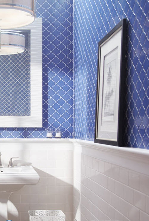 Wonderful Were Planning Our Bathroom Renovation The New Tubshower Combination  White Mosaic Tile With Small Cobalt Dots Between The Squares For The Field Tile, And A Cobalt Blue And Yellow Border, At About 4 Feet Up, Of Handmade, Ceramic