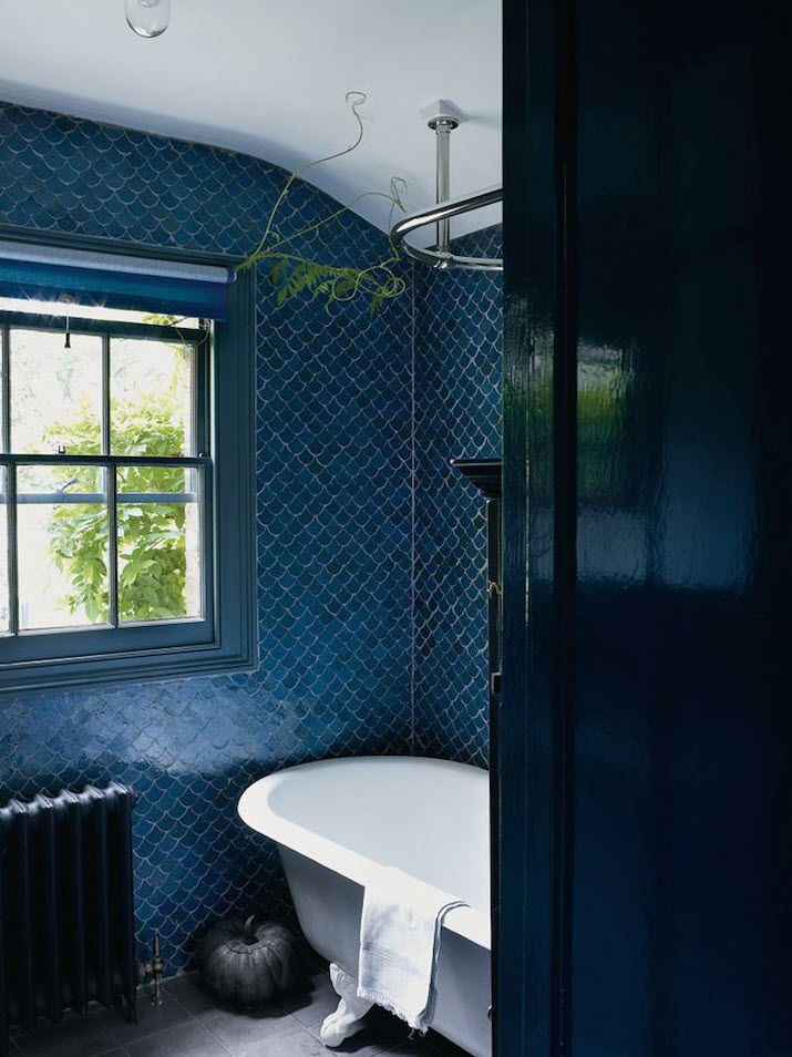 Amazing While A Cobalt Blue Hex Tile Floor Adds Something Special To A Contemporary Coastal Bath Design What Would Be Your Ideal Bathroom Tile Pattern? Im Loving The Hex Tile Look!