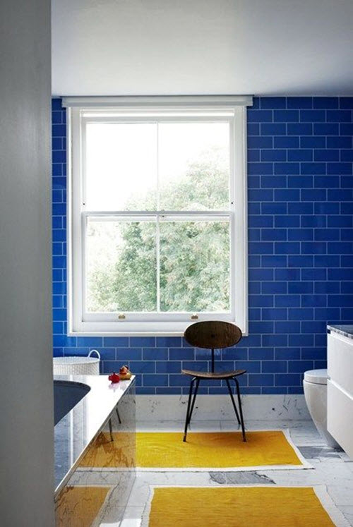 35 cobalt blue bathroom tile ideas and pictures for Blue tile bathroom ideas