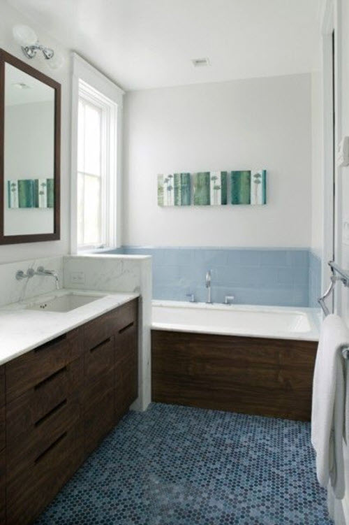 37 Dark Blue Bathroom Floor Tiles Ideas And Pictures 2020
