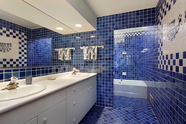 37 dark blue bathroom floor tiles ideas and pictures for Dark blue bathroom tiles