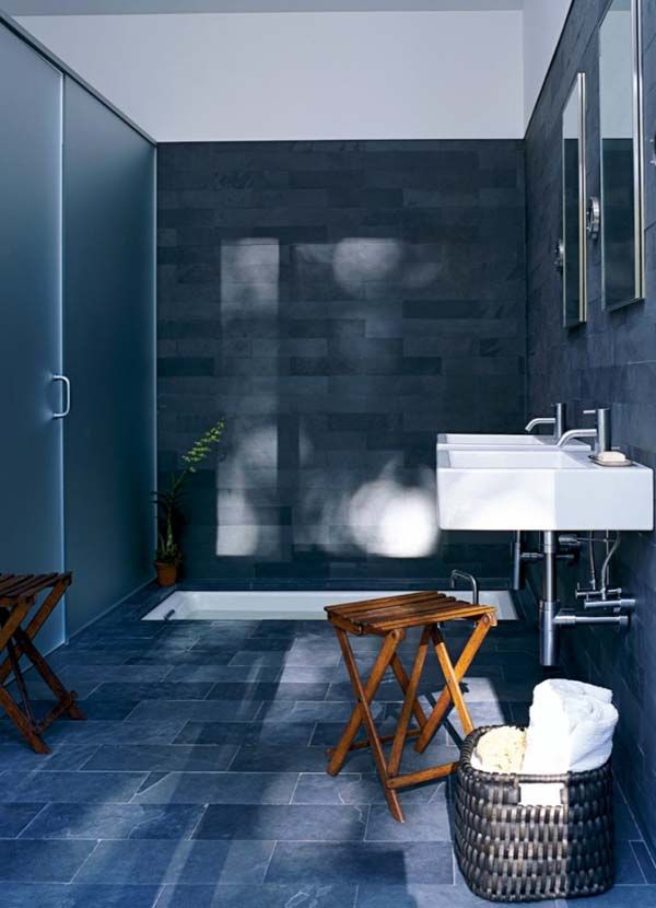 40 dark blue bathroom tile ideas and pictures