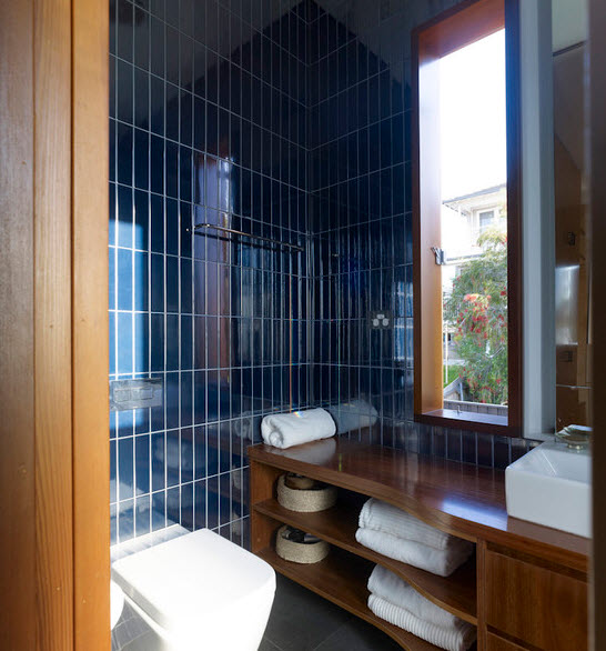 Dark blue bathroom tiles