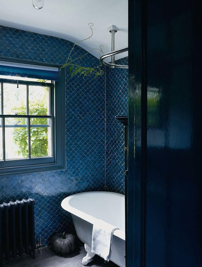 40 dark blue bathroom tile ideas and pictures for Dark blue bathroom tiles