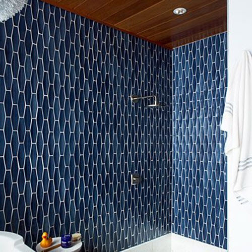 38 dark blue bathroom wall tiles ideas and pictures for Dark blue bathroom tiles