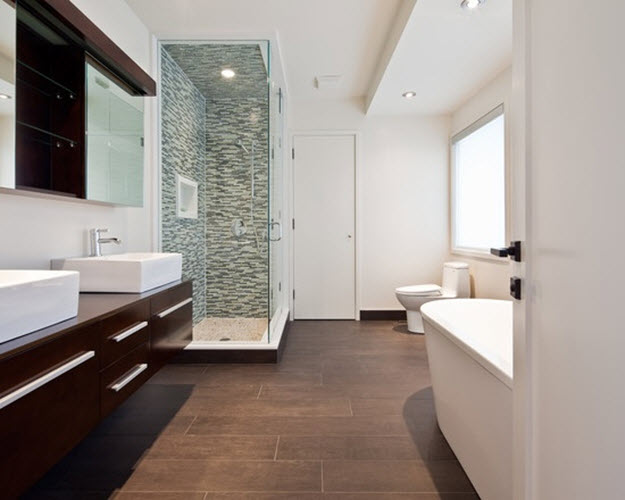 Brown Bathroom Floor Tile Ideas Image Of Bathroom And Closet
