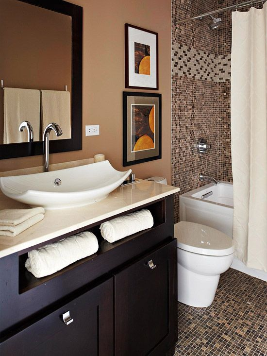 35 dark brown bathroom floor tile ideas and pictures for Brown tile bathroom ideas