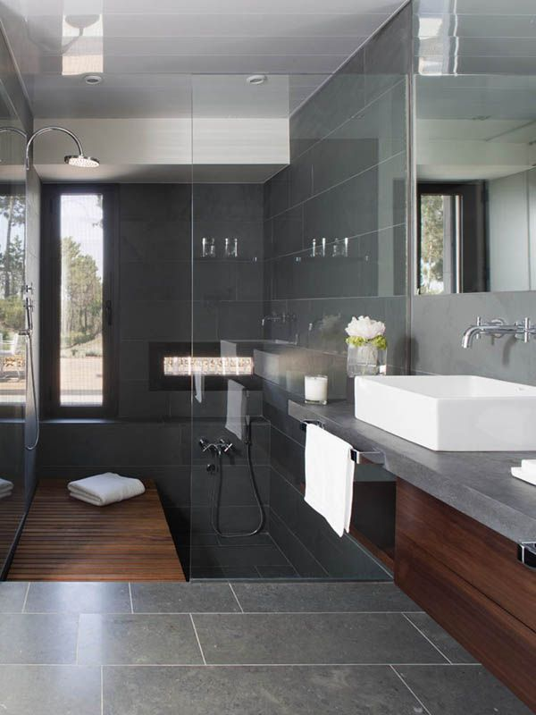 Cool 40 Dark Gray Bathroom Tile Ideas And Pictures