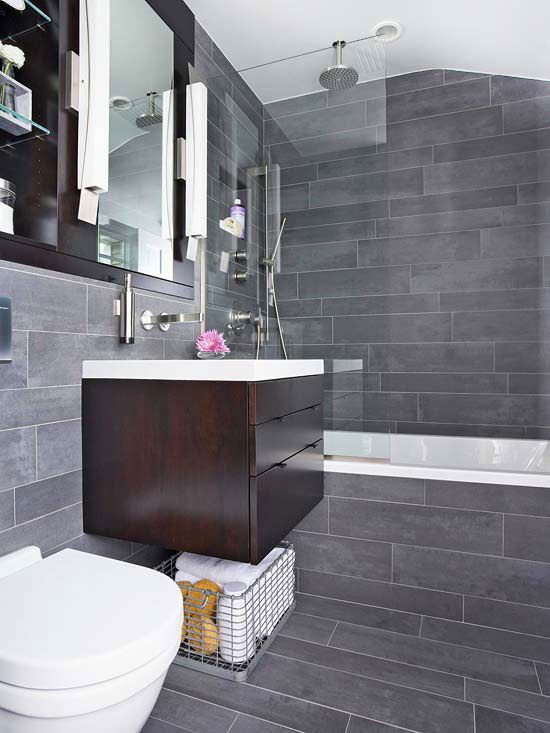 40 dark gray bathroom tile ideas and pictures for Bathroom ideas gray tile