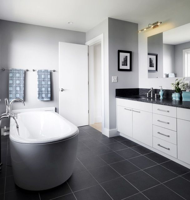40 dark gray bathroom tile ideas and pictures What color to paint bathroom with gray tile