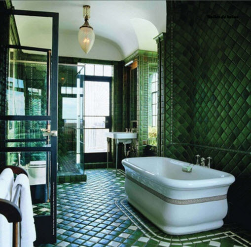 40 dark green bathroom tile ideas and pictures for Bathroom decor green and brown