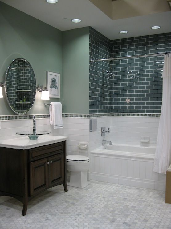 Amazing Green And White Bathroom Tiles